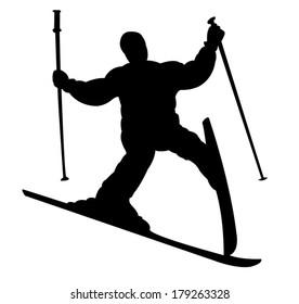 failure at ski, fallin skiier silhouette vector