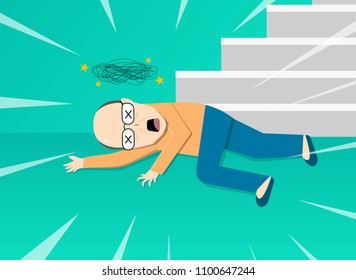 Fainted old man after falling from staircase, vector art