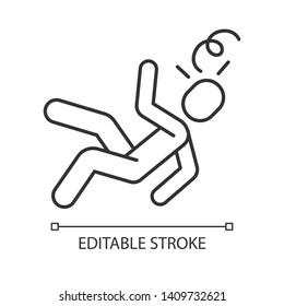 Fainting, dizziness linear icon. Consciousness loss thin line illustration. Heat, sun stroke contour symbol. Fatigue, seasonal allergy symptom. Vector isolated outline drawing. Editable stroke