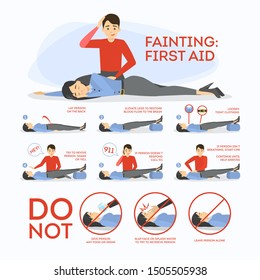 Fainting first aid. What to do in emergency situation, unconscious person on the floor. Medical help. Isolated vector illustration in cartoon style