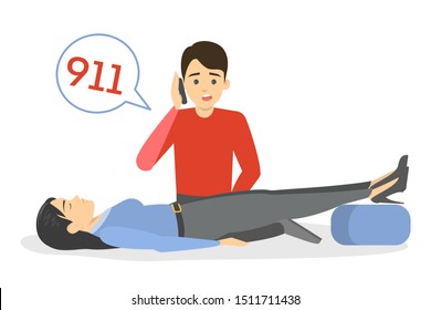 Fainting person. Emergency situation, unconscious person on the floor. Medical help, man call 911. Isolated vector illustration in cartoon style