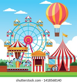 Fair festival with fun attractions in sunny day scenery cartoons, fair entertainment. vector illustration graphic design