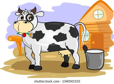 Fair grey cartoon cow standing in county side near bucket with milk and wooden house.