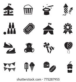 Fair Icons. Black Flat Design. Vector Illustration.