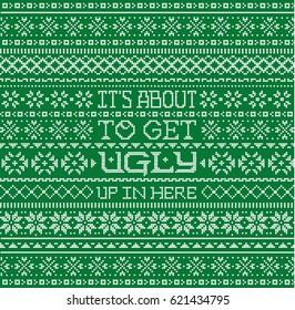 Fair isle Pattern Ugly Christmas Sweater Phrase