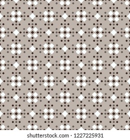 Fair Isle style beige white brown vector seamless pattern with rhombus
