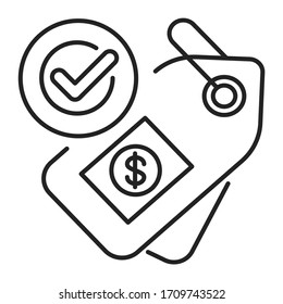 Fair price or trade black line icon. Minimum price paid for certain products imported from developing countries. Pictogram for web page, mobile app, promo. UI UX GUI design element. Editable stroke