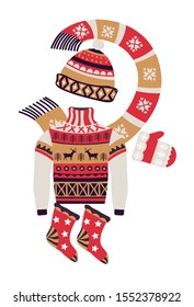 Fairaisle knitwear and Christmas winter accessories. Knitted sweater, mitten, socks, beanie hat with scarf. Festive print in red, cream, tan. Fall holidays vector illustration on white background.
