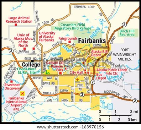 Fairbanks Alaska Area Map Stock Vector Royalty Free 163970156