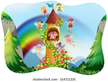 Fairies flying around the castle illustration