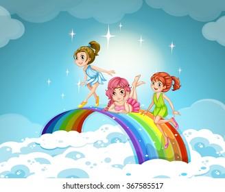 Fairies flying over the rainbow illustration