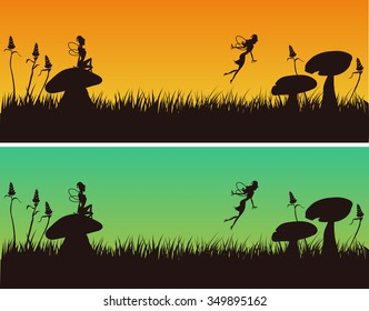Fairies silhouettes in a garden with mushrooms