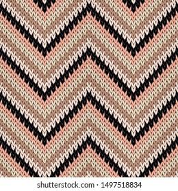 Fairisle zigzag chevron stripes knitting texture geometric vector seamless. Scarf knitwear fabric print. Classic warm seamless knitted pattern. Fabric canvas illustration.