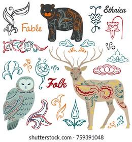 Fairy animals. Ethnic and decorative elements.