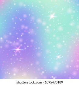 Fairy background with rainbow mesh. Colorful universe banner in princess colors. Fantasy gradient backdrop with hologram. Holographic fairy background with magic sparkles, stars and blurs.