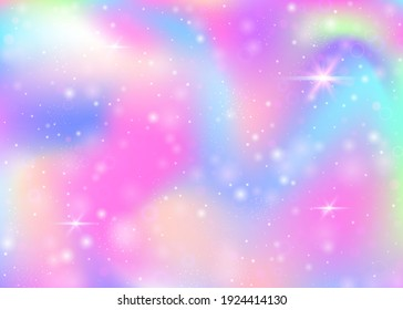 Fairy background with rainbow mesh.  Girlie universe banner in princess colors. Fantasy gradient backdrop with hologram. Holographic fairy background with magic sparkles, stars and blurs.