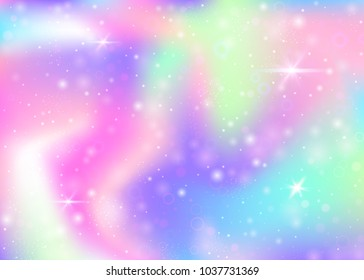 Fairy background with rainbow mesh.  Multicolor universe banner in princess colors. Fantasy gradient backdrop with hologram. Holographic fairy background with magic sparkles, stars and blurs.
