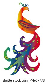 Fairy bird with a luxurious tail. Vector illustration