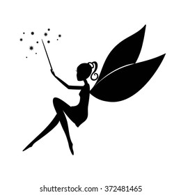 Fairy black silhouette with a magic wand. Fairy sitting. Stencil fairy. Vector Fairy with a magic wand  isolated on white background.