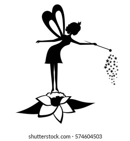 Fairy black silhouette with a magic wand. Vector illustration. Fairy on a flower. Vector Fairy with a magic wand isolated on white background.