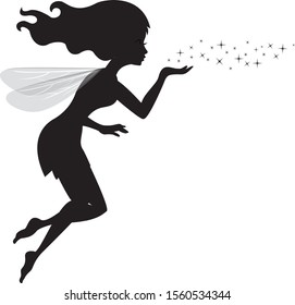 Fairy black silhouette with a star dust