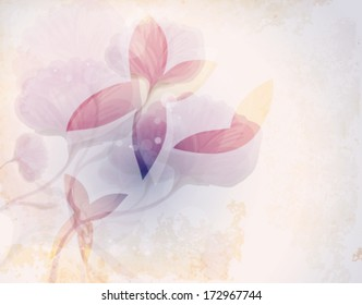 Fairy butterflies  / Romantic floral background