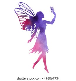 Fairy with butterfly, watercolor vector silhouette illustration for design, logo, sticker, decoration.