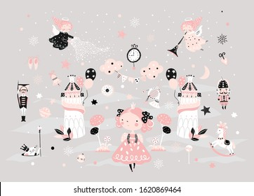 Fairy childish pattern with nutcracker, girl, soldier and mouse king. Christmas scandinavian set for kids fabric, wrapping, textile, wallpaper, apparel.