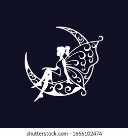 fairy and crescent moon cut file illustration