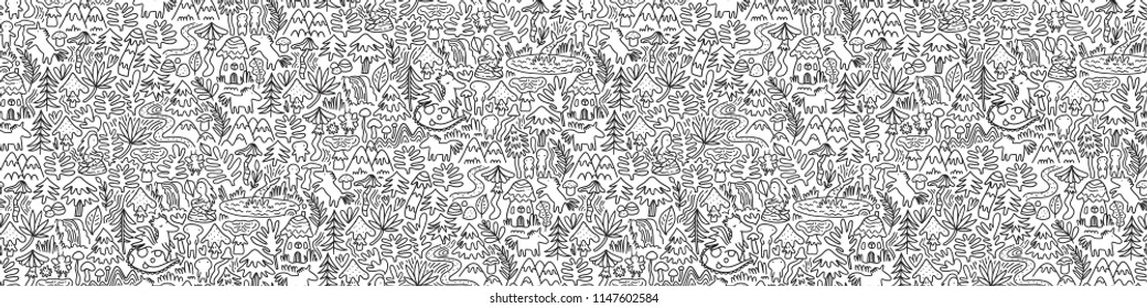 Fairy doodle creatures - mermaids, dragon, unicorn, elfs, mushrooms, botanical plants. Magic forest seamless pattern for coloring book or app. Beautiful cute fantasy trees, lakes, flowers and leaves.