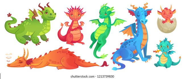 Fairy dragons. Funny fairytale dragon, cute magic lizard with wings and baby fire breathing serpent. Flying dragon medieval reptile flies fantasy baby monster cartoon isolated vector icons set