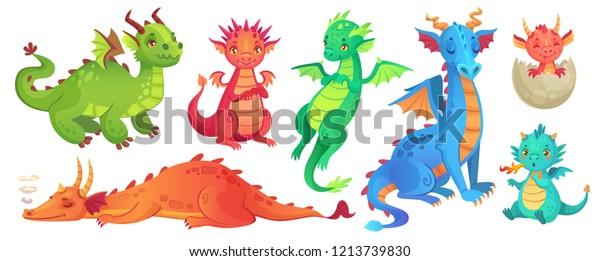 Сказочные драконы. Забавный сказочный дракон, милая волшебная ящерица с крыльями и ребенок огненный дышащий змей. Летающий дракон средневековый рептилий летит фантазия ребенка монстр мультфильм изолированный вектор иконки набор