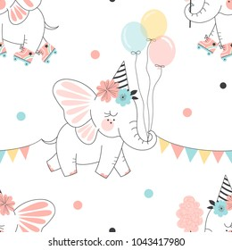 fairy elephant roller-skating with balloons and cotton candy, kids  pattern, Happy Birthday graphic