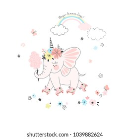 fairy elephant roller-skating under the rainbow, fairy illustration for kids, tee shirt graphic