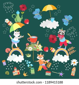 Fairy endless pattern or square card for baby. Cute cartoon kitten, raccoon and litle fox - unicorns, umbrella, buildings, flowers, rainbow,crown, bird, cup of tea, teapot, stars and batterfly.