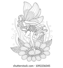 Fairy and flower. Zentangle stylized cartoon isolated on white background. Hand drawn sketch illustration for adult coloring book.