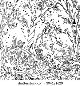 Fairy Forest - Adult Coloring Page. Vector illustration.