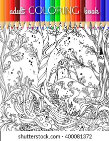Fairy Forest  Adult Coloring Page. Vector EPS 10.