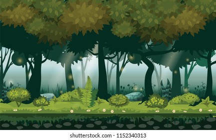 Fairy forest. Bright forest woods, silhouttes, trees with bushes, ferns and flowers. For design game, apps, websites. Vector, cadroon style, isolated
