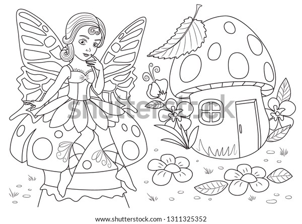 Fairy Forest Coloring Page Coloring Page Stock Vector (Royalty ...
