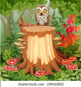 Fairy forest glade with cute owl sitting on stump surrounded by toadstools - a place for your text