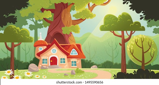 Fairy forest with house and trees.