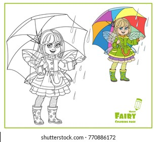 Fairy girl with wings in raincoat is standing under an umbrella color and outlined isolated on a white background