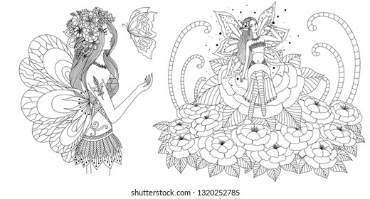 Fairy girls set for adult coloring book,coloring page,printing and other design element. Vector illustration