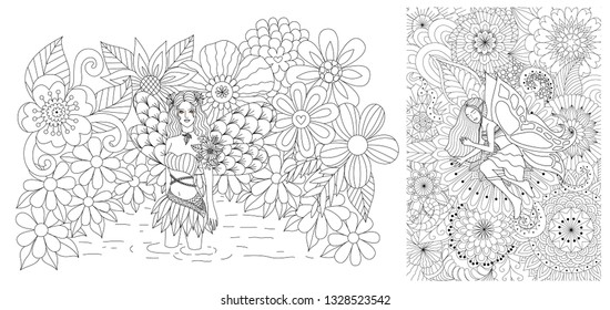 Fairy girls in spring time collection for adult coloring book, coloring page, background and other design element. Vector illustration