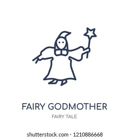 fairy godmother icon. fairy godmother linear symbol design from Fairy tale collection. Simple outline element vector illustration on white background.