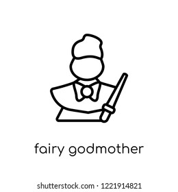 fairy godmother icon. Trendy modern flat linear vector fairy godmother icon on white background from thin line Fairy Tale collection, editable outline stroke vector illustration
