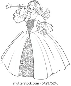 Fairy godmother making a wish coloring page