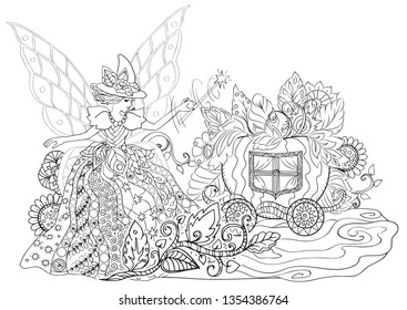 Fairy godmother turns a pumpkin into a carriage. Coloring book for kids and adults. outline drawing on white background. Anti-stress coloring with many details.