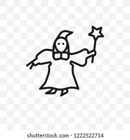 fairy godmother vector linear icon isolated on transparent background, fairy godmother transparency concept can be used for web and mobile